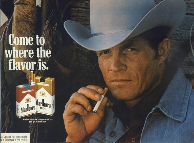 Erik Lawson, bintang iklan Marlboro. Meninggal dunia akibat penyakit paru kronik.
